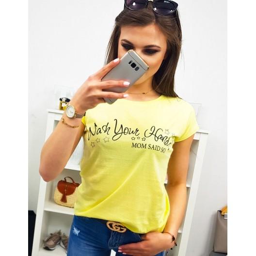 Dámske tričko s krátkym rukávom v žltej farbe s nápisom MOM SAID SO