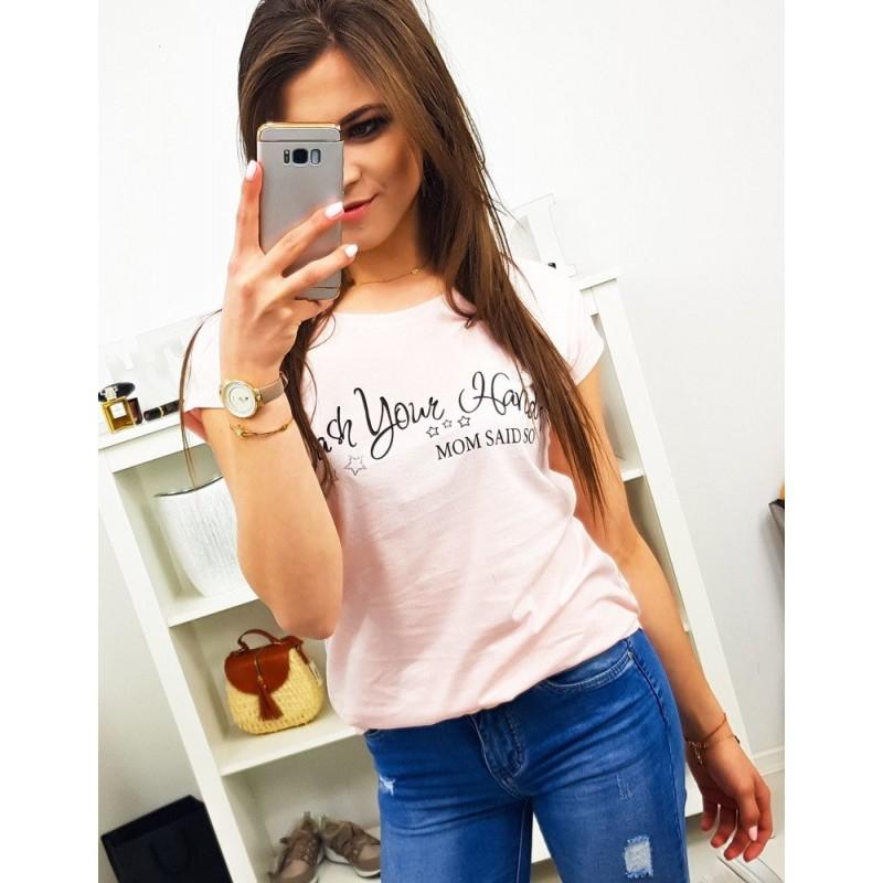 2195cb567834 Svetlo ružové dámske tričko na leto s vtipným nápisom MOM SAID SO