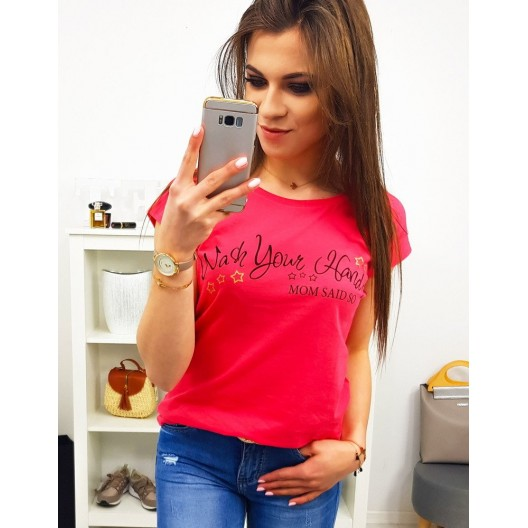 Červeno malinové dámske tričko s krátkym rukávom a trendy nápisom