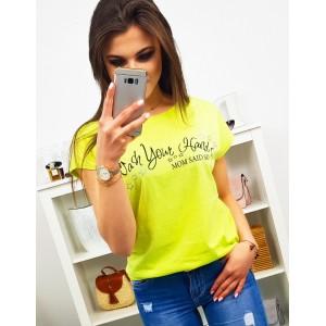 Limentkovo žlté dámske tričko s krátkym rukávom a nápisom