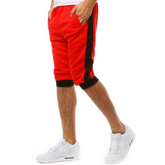 Športové pánske červené kraťasy s čiernym bočným pásom
