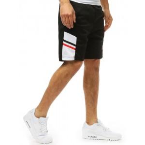 Letné pánske kraťasy v čiernej farbe s trendy vzorom na boku