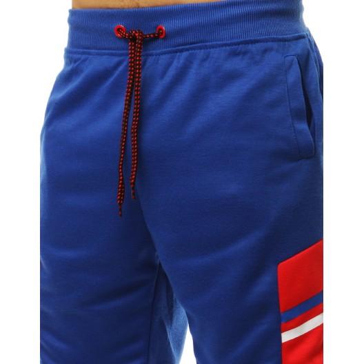 Moderné dámske kraťasy modrej farby s dizajnovým bielym pásom