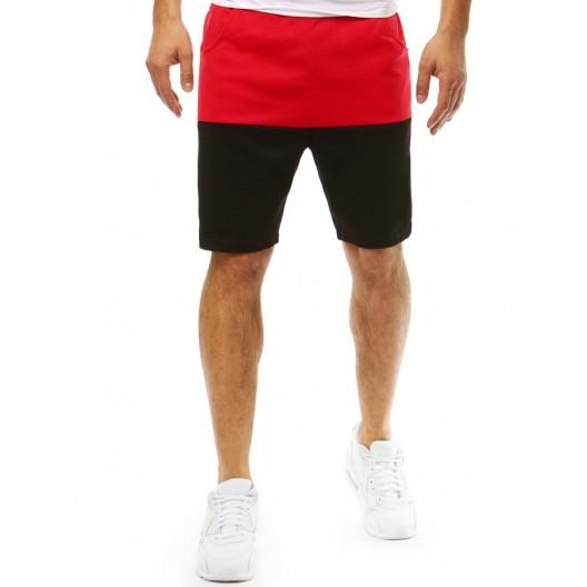 Červeno čierne pánske kraťasy nad kolená so sťahujúcou šnúrkou v páse