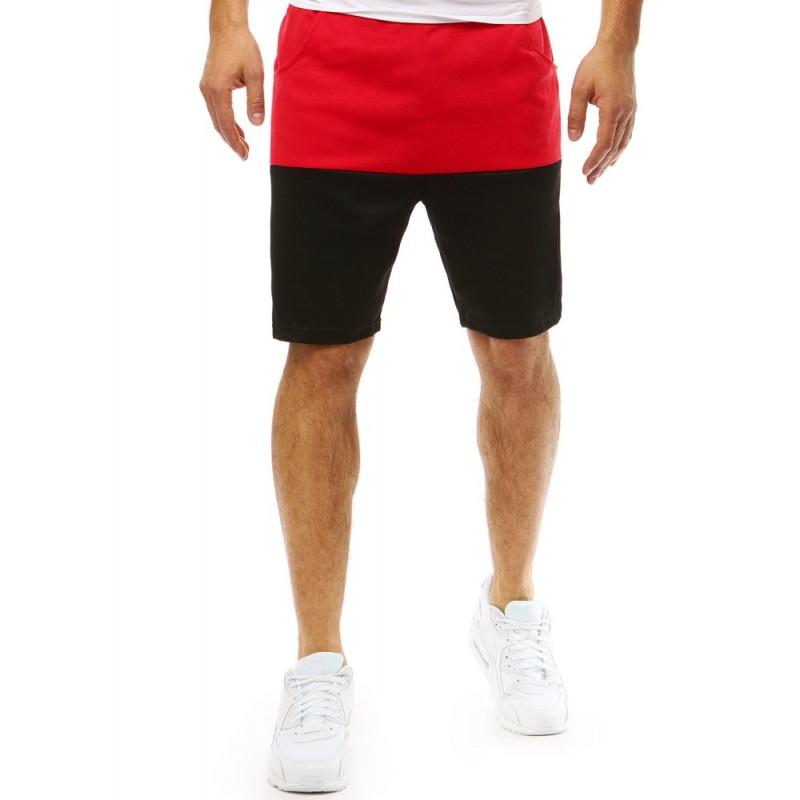 1e97f939c138 Červeno čierne pánske kraťasy nad kolená so sťahujúcou šnúrkou v páse