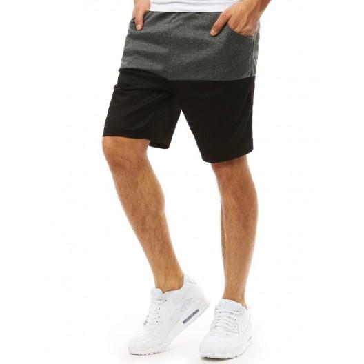 Sivo čierne pohodlné pánske kraťasy s bočnými vreckami