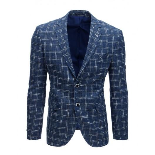Štýlové kockované ležérne pánske sako v modrej farbe