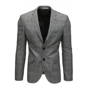 Neformálne pánske sako v sivej farbe s károvaným vzorom