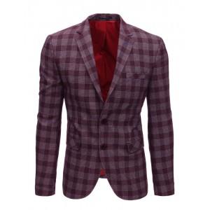 Športové pánske sako v bordovej farbe s kockovaným vzorom