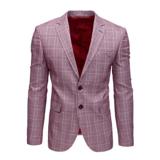 Trendy kockované pánske sako k rifliam v bordovej farbe