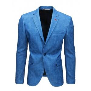 Športovo elegantné pánske sako v krásnej azúrovo modrej farbe