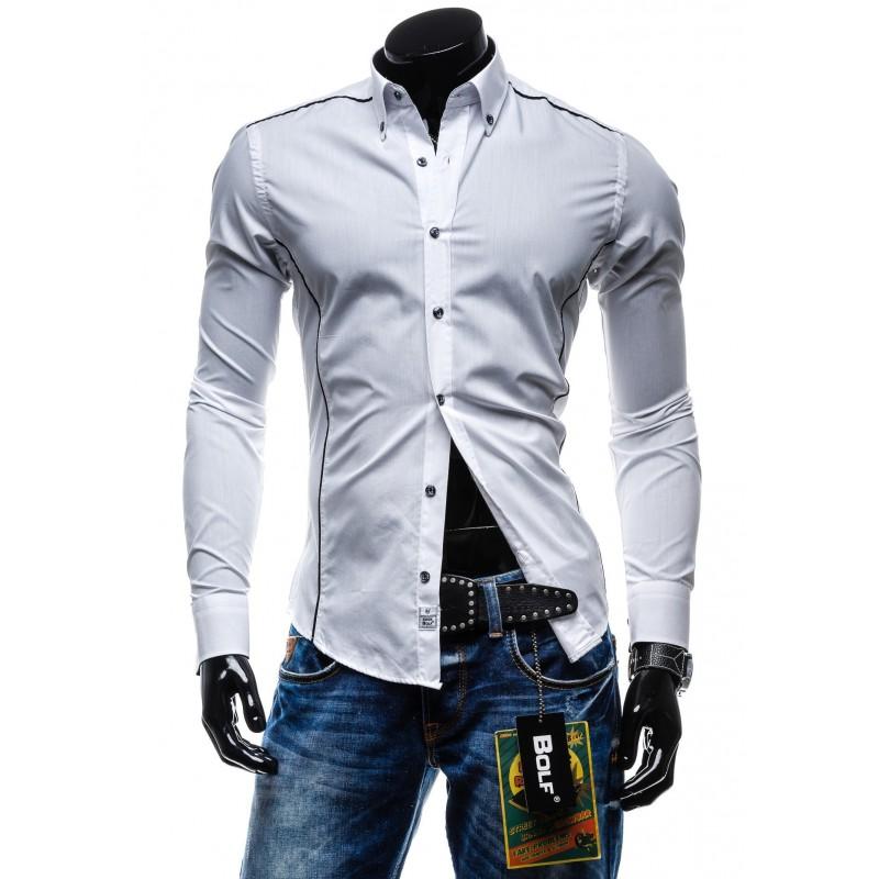 8ba2bc2f0c5f Biele pánske športové košele s dlhým rukávom - fashionday.eu