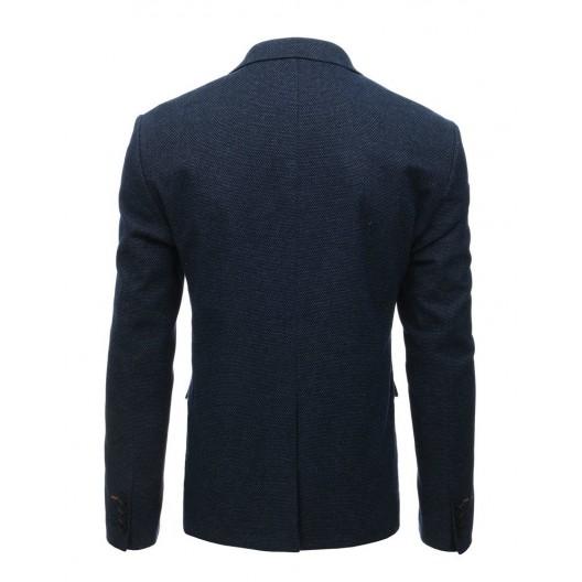 Pánske vzorované sako v tmavo modrej farbe