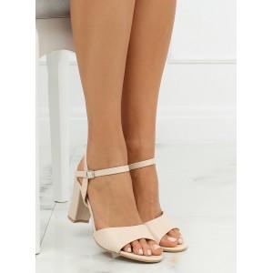 Letné dámske sandále na vysokom opätku béžovej farby
