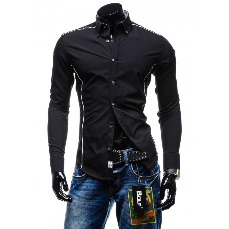 4bdf95e8da1e Predchádzajúci. Značkové a lacné pánske košele s dlhým rukávom čiernej farby  ...