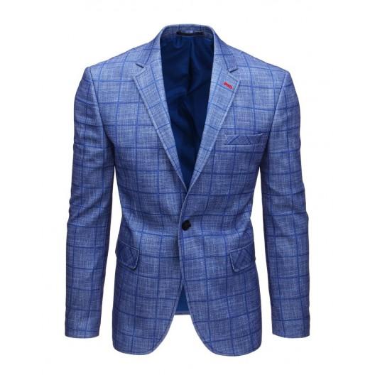 Moderné kockované pánske sako k rifliam v modrej farbe