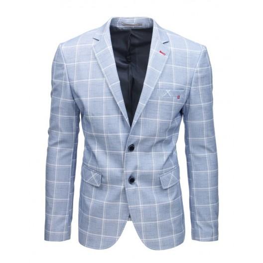 Nadčasové pánske sako v krásnej svetlo modrej farbe s potlačou kára