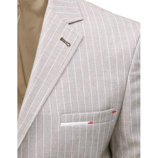 Krásne letné pánske sako v béžovej farbe slim fit strihu