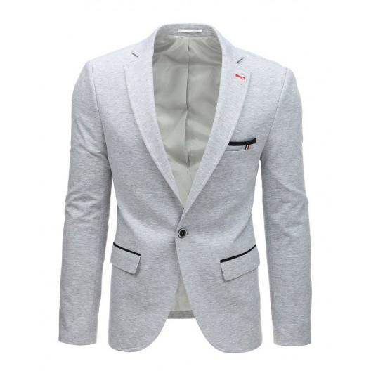 Originálne jednofarebné svetlo sivé pánske sako na voľný deň