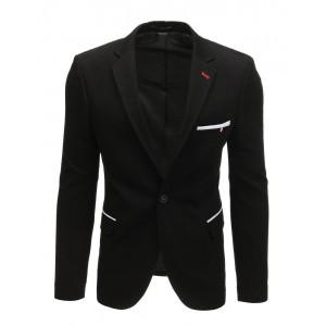 Ležérne pánske sako v čiernej farbe olemované bielym pásmi