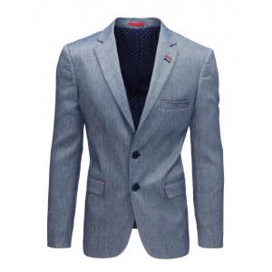 Elegantné jednofarebné pánske sako v modrej farbe