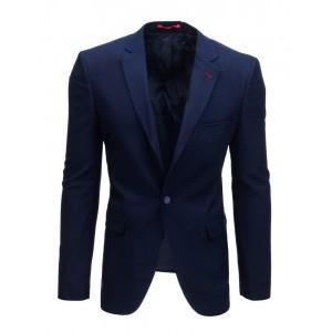 Športovo elegantné jednofarebné pánske tmavo modré sako