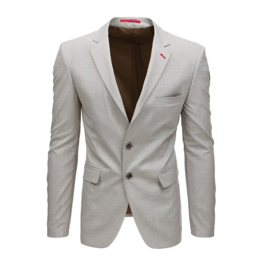 Trendy pánske béžové sako slim fit strihu
