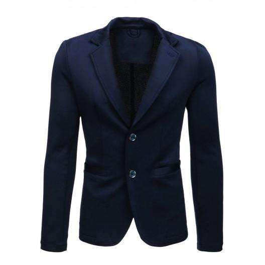 Originálne a trendy pánske tmavo modré sako so záplatami na lakťoch