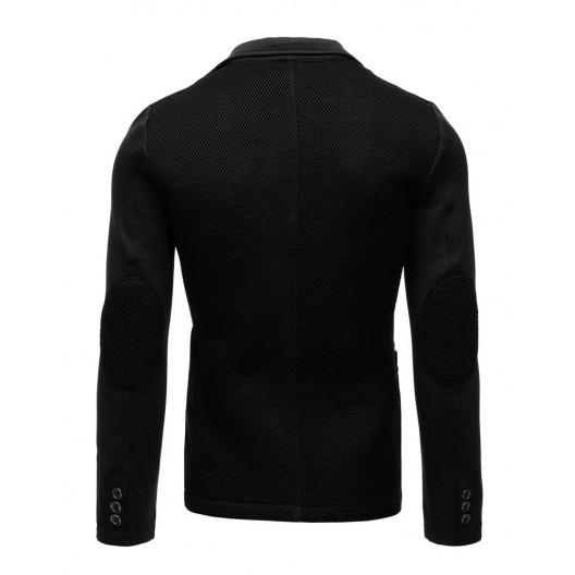 Moderné pánske čierne sako v tvare bundy so záplatami