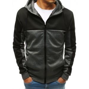 Moderná pánska mikiny v čierno sivej farbe so zapínaní na zips