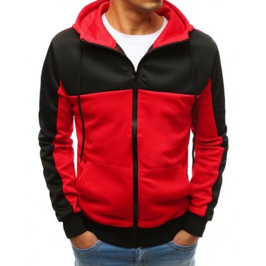 Štýlová pánska street mikina čierno červená s kapucňou a na zips