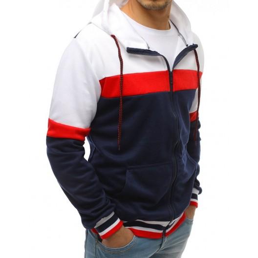 Originálna mikina pánska na zips bielo modro červená