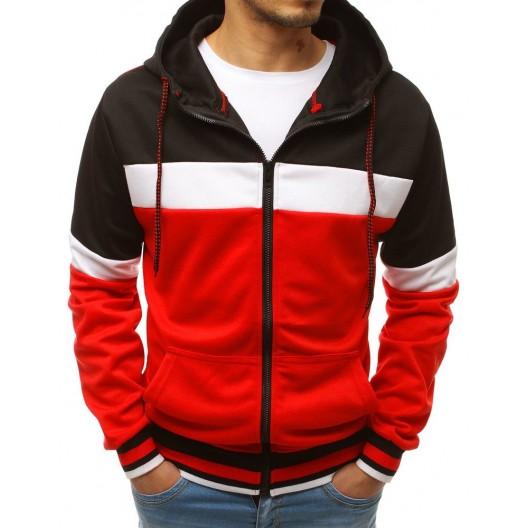Trendy červená pánska mikina s kapucňou a zapínaním na zips