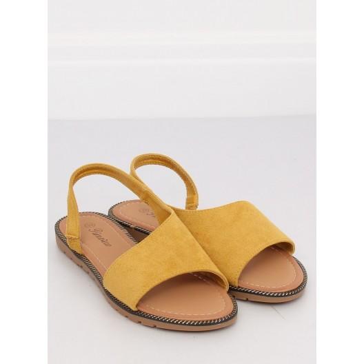 Asymetrické žlté dámske sandále na nízkej podrážke s ozdobným lemom