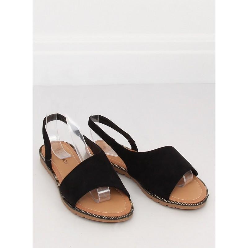 87e5395ed0565 Semišové čierne dámske sandále na nízkej podrážke s ozdobným lemom