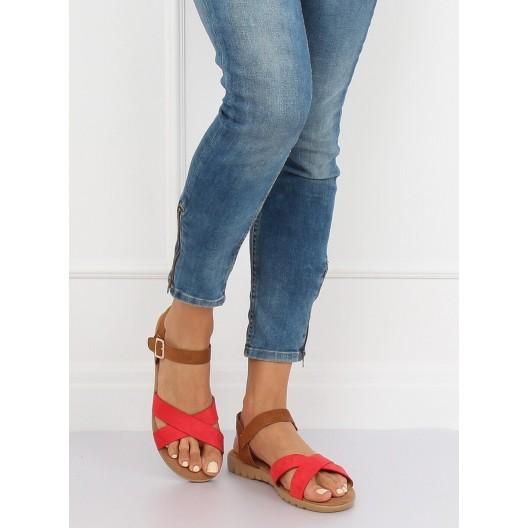 Sandále dámske hnedé v efektívnej kombinácii s červenou farbou