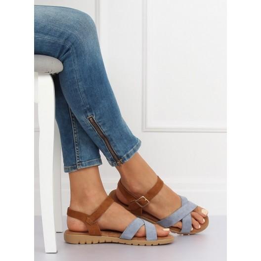 Trendy dámske sandále na leto v hnedo modrej farbe s remienkom