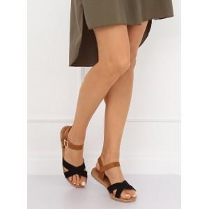 Hnedo čierne dámske semišové sandále na nízkej podrážke