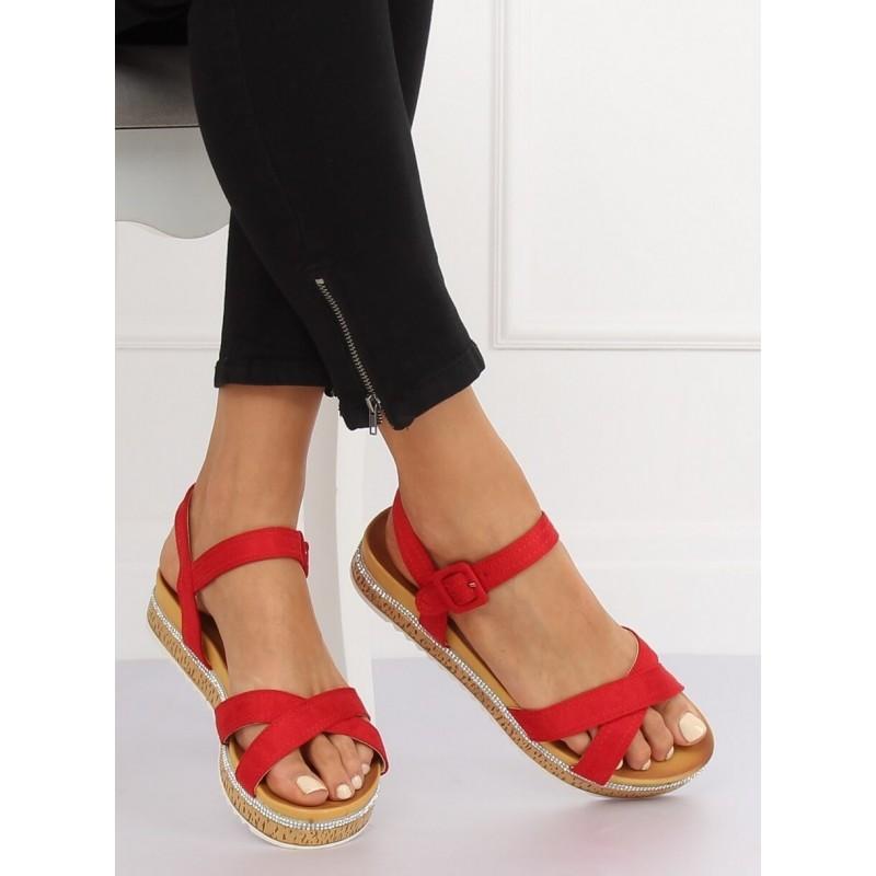 b399c776f9 Štýlové dámske červené sandále na korkovej platforme s kamienkami