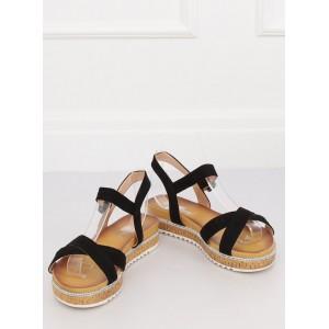 Moderné čierne dámske sandále na korkovej platforme s kamienkami
