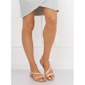 Dámske béžové nasúvacie sandále s remienkami s rovnou podrážkou