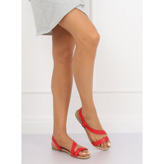 Dámske červené minimalistické sandále s trendy pásmi