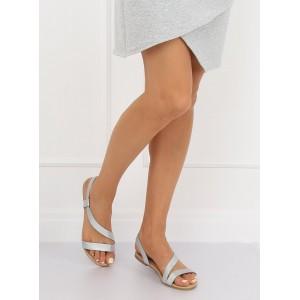 Strieborné dámske nasúvacie sandále na nízkej podrážke