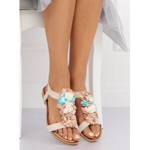 Dámske béžové vintage sandálky s ozdobnými kvetmi na nízke podrážke