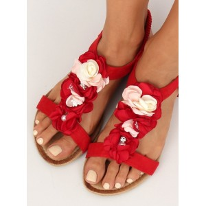 Červené dámske sandálky na leto s ozdobnými vintage kvetmi