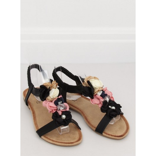 Trendy dámske čierne sandále s originálnymi kvetmi