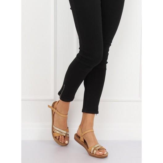 Štýlové dámske hnedé sandále s kontrastným zlatým a hadím prúžkom