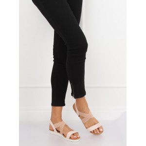 Pohodlné púdrovo rúžové dámske sandále na nízkej podrážke