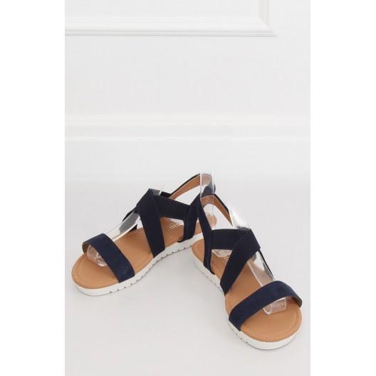 Trendy tmavomodré dámske sandále s trblietavou perleťou
