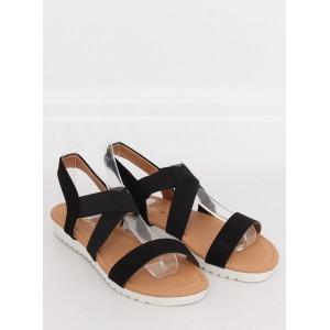 Dámske čierne sandále s leskom na nízkej trendy bielej podrážke